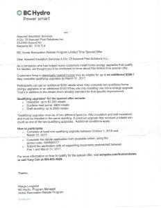 BC Hydro Updated Rebate Assured Insulation kelowna